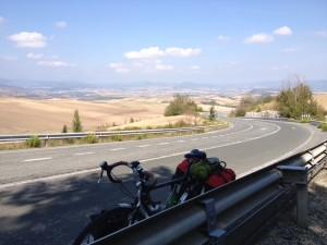 Climbing away from Pamplona - exhausted!