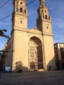 Logroño Cathedral with blue shipping container!