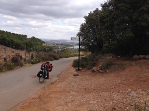 Climbing up out of Logroño on camino adjacent to Autovia