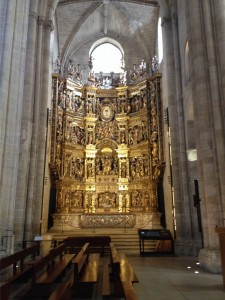 The Altarpiece at the Cathedral Santo Domingo de la Calzeda.  Although it looks like it's all gold, it's mainly walnut and pine, and dates from about 1553.