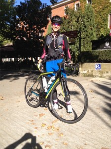 Marie-Eve from Canada averaging 150 km each day riding an American Specialized Sport road bike.